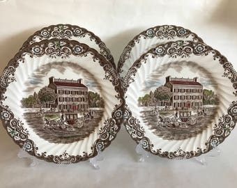 Vintage Johnson Brothers HERITAGE HALL Set of 4 Dinner PLATES,4411, Georgian Town House,Brown Engraved Ironstone,Staffordshire England #4411