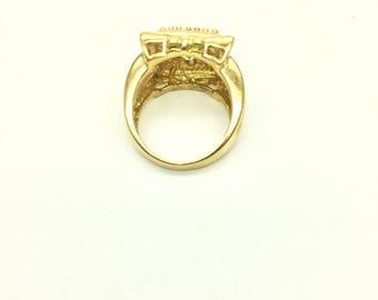 Antique Citron/Peridot Asscher Ring