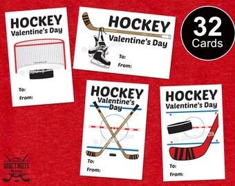 32 Kids Hockey Valentine's Exchange Cards - Hockey Elements