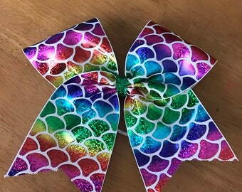 Mermaid rainbow 3 inch bow