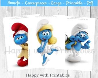 Smurfs Centerpieces - Smurfs large Centerpieces - Smurfs party - Smurfs birthday - Smurfette Centerpieces - The lost village printable