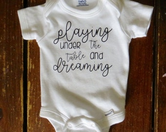 "Dave Matthews Band ""Playing Under the Table and Dreaming"" Baby Organic Onesie Bodysuit or Toddler Baseball T-shirt"