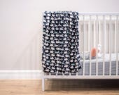 Custom listing for Halee with Trim Added to the blue Swan Newborn Swaddle Wrap, Newborn Gift Receiving Blanket, Swans Nursery Baby Blanket,