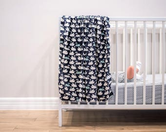 blue Swan Newborn Swaddle Wrap, Newborn Gift Receiving Blanket, Swans Nursery Baby Blanket,