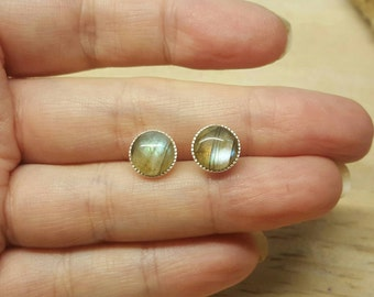 labradorite stud earrings. 925 sterling silver. Reiki jewelry uk. Gemstone Post earrings. 8mm round stone