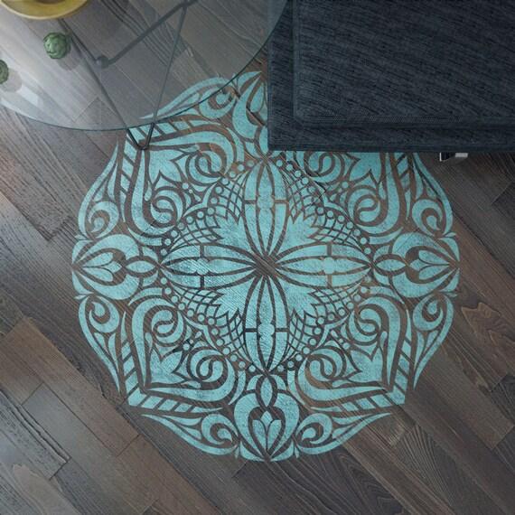 mandala pochoir stencil sol mandala sol pochoir peinture. Black Bedroom Furniture Sets. Home Design Ideas