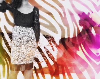 Zebra print fringe pencil skirt, Size Medium, Size 8