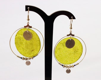 Creoles silver and green mother-of-pearl earrings