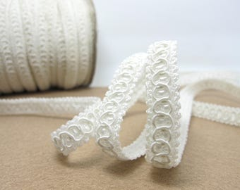 3 Yards 3/8 Inch White Gimp Braided Trim|French Gimp Braided|Scroll Braid Trim|Decorative Embellishment Trim|Doll Trim|Home Decor