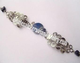 Round Blue Sodalite Alpaca Silver Curls Bracelet Peruvian Jewelry - Handmade in Peru