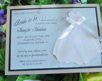 Tulle accent Bride-to-be die cut embellished with bow hand made layered Bridal Shower invitations