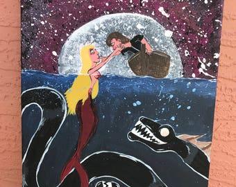Original deep sea Siren painting, mermaid painting, ship, evil acrylic painting