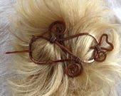 Swirl hair slide - Hair Barrette - Copper - Hair accessories - Hair stick - Handmade