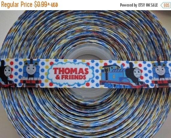 "SUPER SALE THOMAS The Train Inspired 7/8"" 22mm Grosgrain Hair Bow Craft Ribbon 782619"