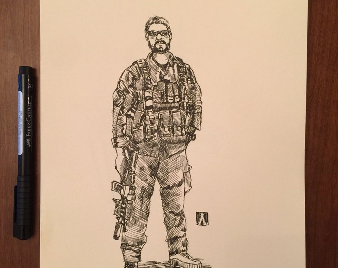 KillerBeeMoto: Original Pen Sketch of Special Operations Soldier