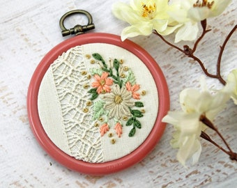 Floral Bouquet Embroidery Hoop Art - White Coral and Pink and Yellow Flowers on  Vintage Lace Handkerchief - 2.5 Inch Hoop