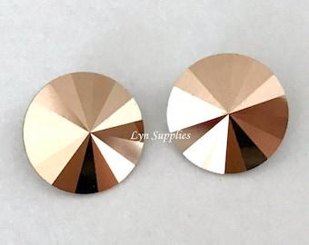 1122 ROSE GOLD 12mm 6pieces Swarovski Crystal Rivoli, Metallic Effects