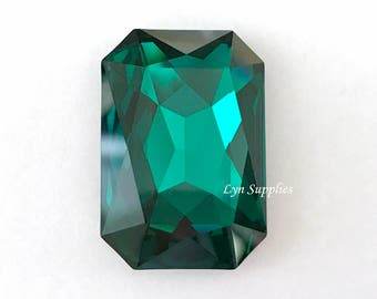 4627 EMERALD 27x18.5mm Swarovski Crystal Rectangle Octagon, Dark Green May Birthstone