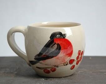 Handmade ceramic mug, pottery mug, Bullfinch mug, coffee mug, Wheel Thrown Mug, Robin red breast