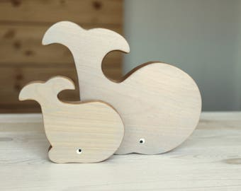 Wooden whales, baby's room decoration, eco-friendly toy, wooden toy, grey