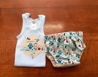 Baby boys summer outfit, boys nappy cover and tank set, size 3-6 months cute dpsce fabric, handmade baby boys outfit .