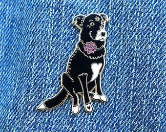 Dahlia the Black Labrador Retriever Border Collie Mix Enamel Pin // Puppy Dog, Hard Enamel, Cloisonne, Accesories, Flair
