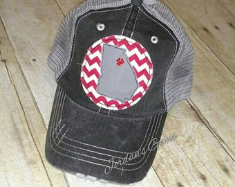 Georgia  / GA State / Athens Distressed Trucker Hat