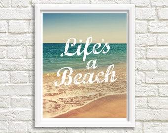 lifes a beach sign etsy. Black Bedroom Furniture Sets. Home Design Ideas
