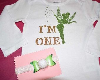"Tinkerbell Onesie 1st Birthday! ""I'M ONE"" With matching headband"