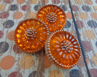 1 Bright Orange Flower Button 18mm Round Czech Glass Button Orange Flower Shaped Flat Glass Button Bright Orange Glass Button Metal Loop
