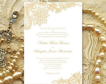 Vintage Lace Wedding Invitations Champagne Printable Template Editable Word.doc Make Your Own Wedding Invitations DIY You Print