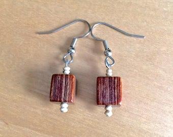 WOODEN BEAD EARRINGS  wood earrings wood beads nature jewelry rustic jewelry rustic earrings