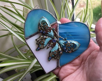Stained glass butterfly heart, patchwork heart, turquoise