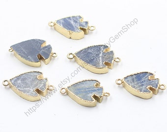 Labradorite Connectors -- With Electroplated Gold Edge Charms Wholesale Supplies YHA-171
