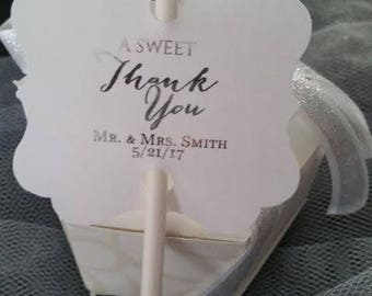 Gold Silver Foil Wedding Favor A Sweet Thank You Cake Pop Cakepop Thank You Tags Personalized Cake Pop Favour Favor Tag