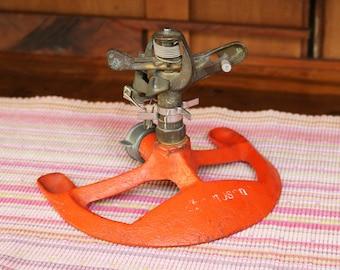 Vintage Red-Orange Metal Sprinkler with Brass Sprinkler Head - All Metal