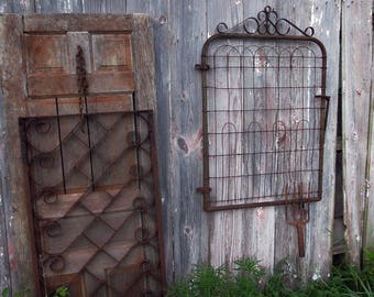 1930's Wire Gate, a garden style masterpiece...old green paint remnants and deeply rusted...faded prairie or secret garden...hardware intact