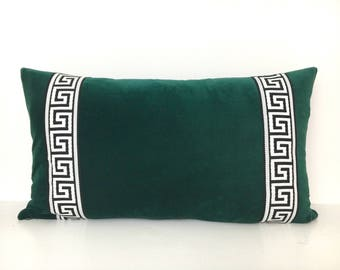 Emerald Green Pillow Cover -Pine Green Velvet Lumbar Pillow with Greek Key Trim