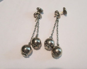 Vintage Silver Cluster Drop Earrings