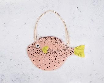 BIG PINK PUFFERFISH (big pink balloon) - bag fish