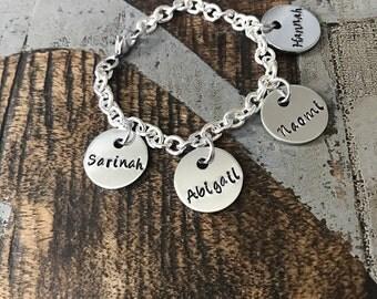 Mother Charm Bracelet Grandma Charm Bracelet Grandchildren Name Bracelet Handstamped Bracelet Personalized Bracelet Handstamped Jewelry