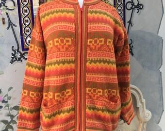 Zipper Orange,yellow, green, brown Alpaca Sweater Cardigan