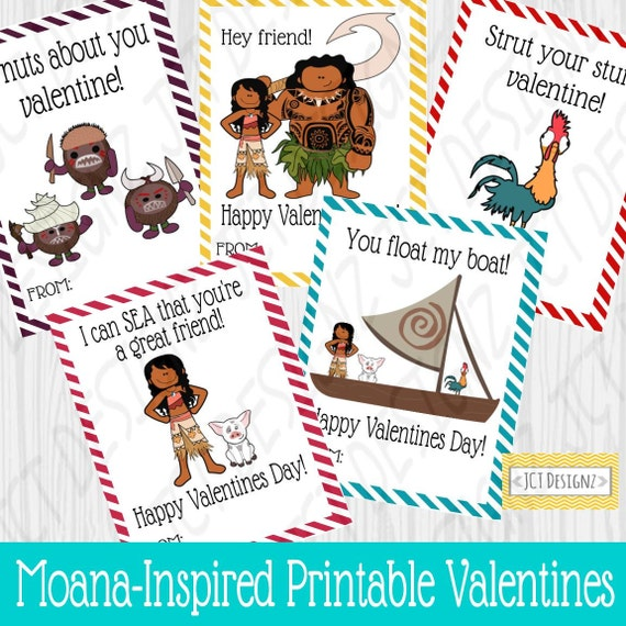 Printable Disney Moana Valentines For Kids