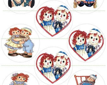 """INSTANT DOWNLOAD Raggedy Ann Andy Cupcake Toppers Party Banners 3"""" Digital Graphics Raggedy Ann Andy Printable Digital Hearts Collage Sheet"""