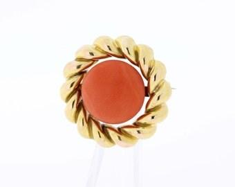 14K Gold Coral Pin
