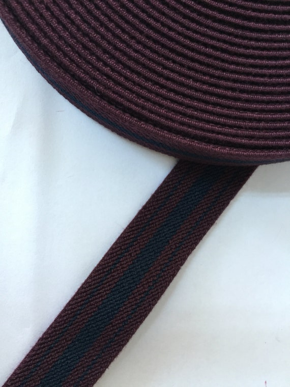 1 inch 2 5 cm wide maroon and navy striped suspender elastic. Black Bedroom Furniture Sets. Home Design Ideas