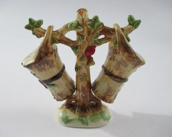 Vintage Tree and Buckets Salt and Pepper Shakers, Ceramic, Harvest Themed, Made in Japan