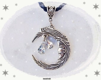 Moon Medallion/Luna Amulet on Collar, Large Silver Crescent Moon with Tears, Moon Charm Pendant + Cotton Neckband, Trendy Universal Jewelery