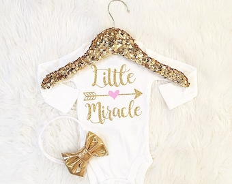 Baby girl clothes, Little Miracle newborn, baby shower gift, birth announcement coming home outfit
