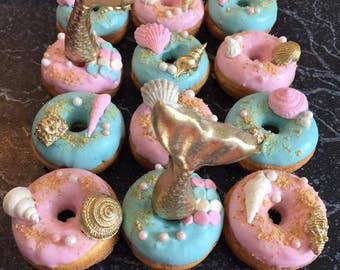 12 Beach Mermaid Theme Party Sweets Table Treats Sea Shell Mini Donuts Birthday Party Baby Bridal Wedding Shower Favors